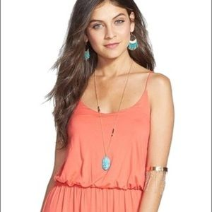 Lush Coral Maxi dress with Blouson Top